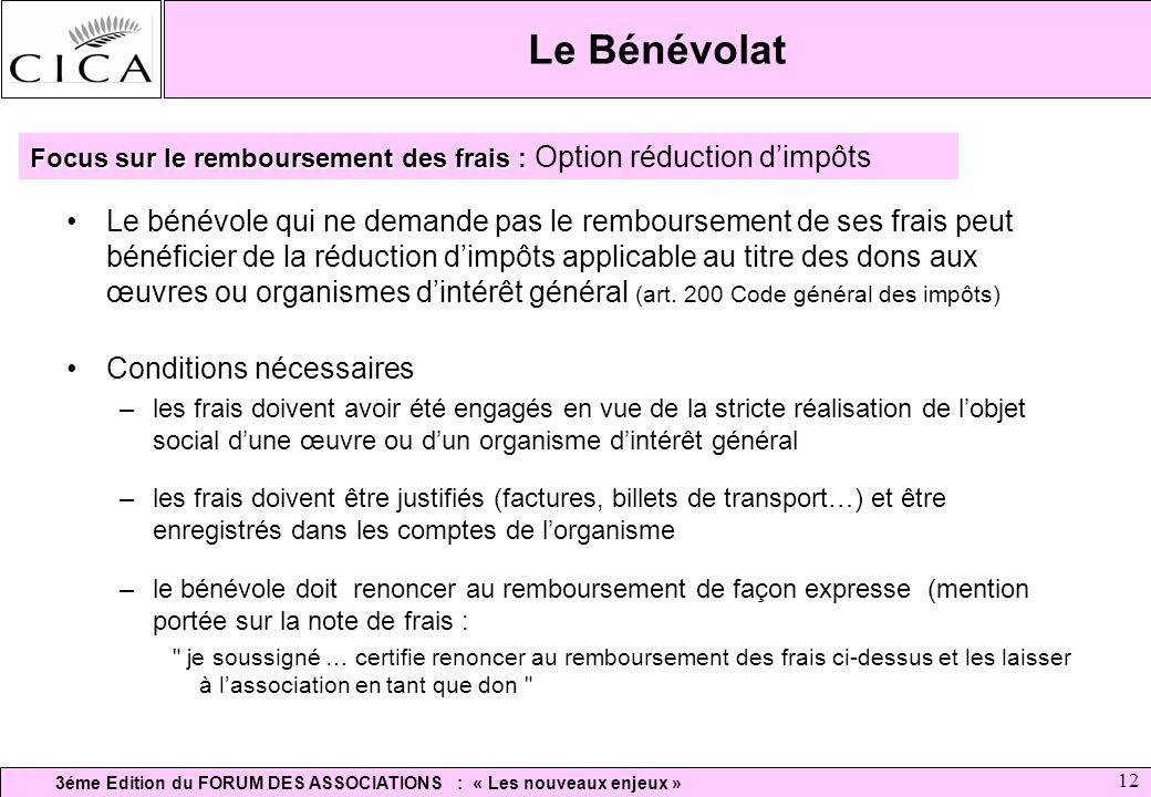 Le Bénévolat Focus sur le remboursement des frais : Option réduction d'impôts.