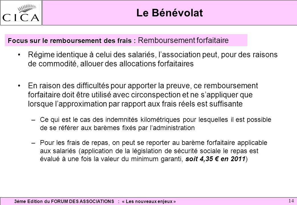 Le Bénévolat Focus sur le remboursement des frais : Remboursement forfaitaire.
