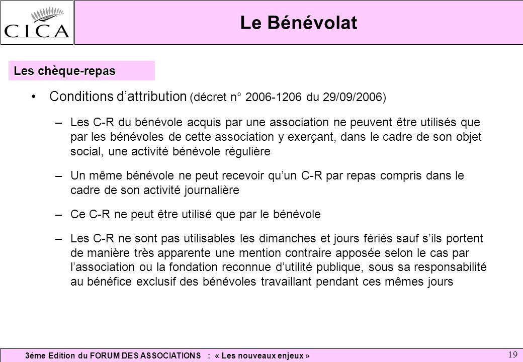 Le Bénévolat Les chèque-repas. Conditions d'attribution (décret n° 2006-1206 du 29/09/2006)