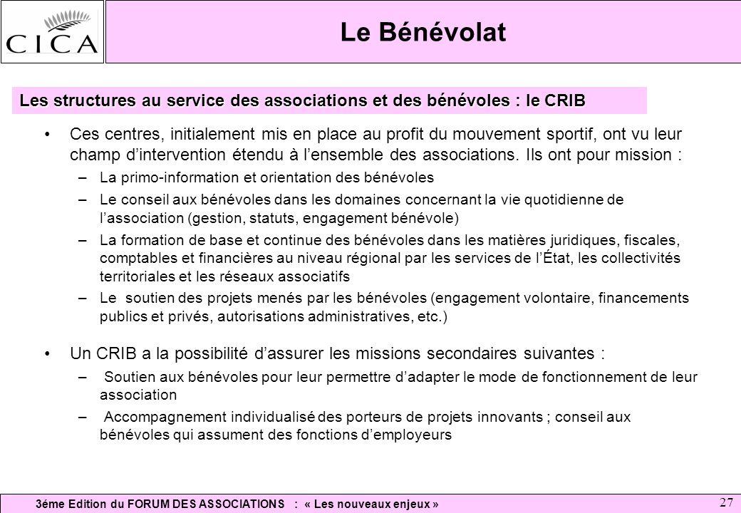 Le Bénévolat Les structures au service des associations et des bénévoles : le CRIB.