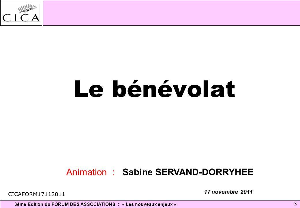 Le bénévolat Animation : Sabine SERVAND-DORRYHEE 17 novembre 2011