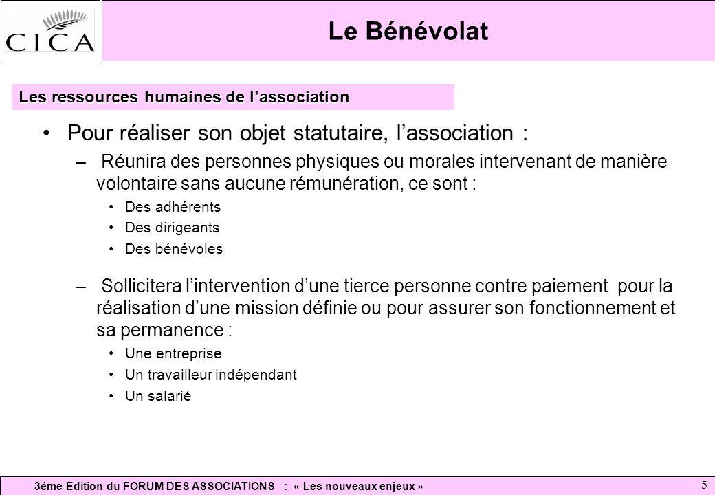 Le Bénévolat Pour réaliser son objet statutaire, l'association :