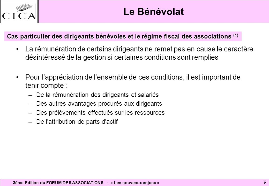 Le Bénévolat Cas particulier des dirigeants bénévoles et le régime fiscal des associations (1)