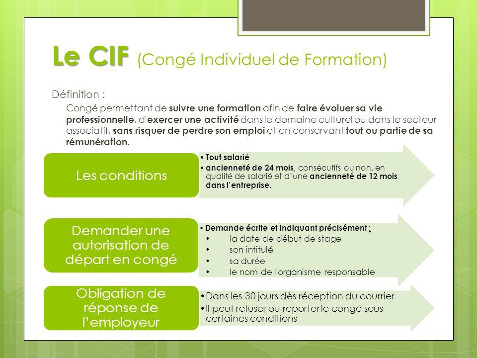 Le CIF (Congé Individuel de Formation)