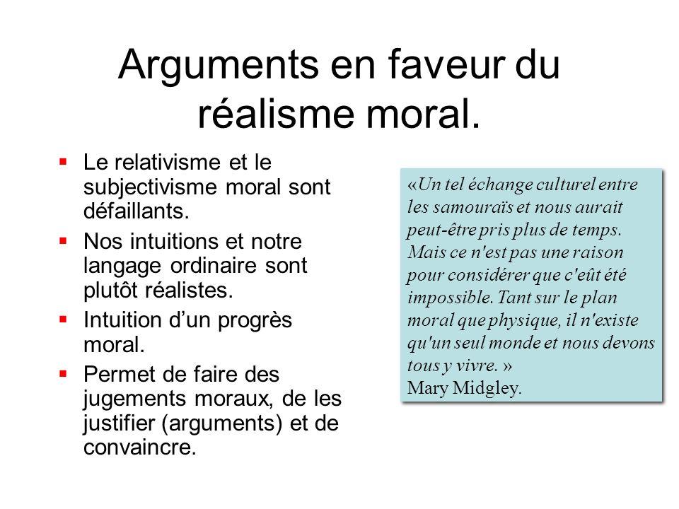 Arguments en faveur du réalisme moral.