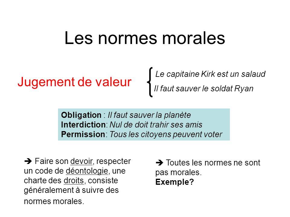 Les normes morales Jugement de valeur Le capitaine Kirk est un salaud