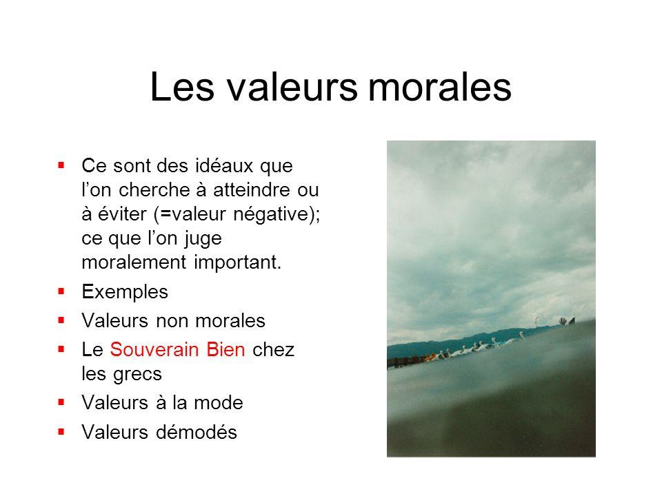 Les valeurs morales Ce sont des idéaux que l'on cherche à atteindre ou à éviter (=valeur négative); ce que l'on juge moralement important.