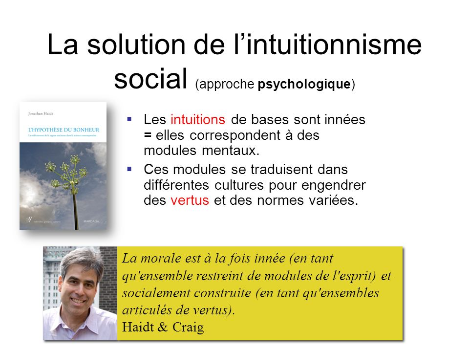 La solution de l'intuitionnisme social (approche psychologique)
