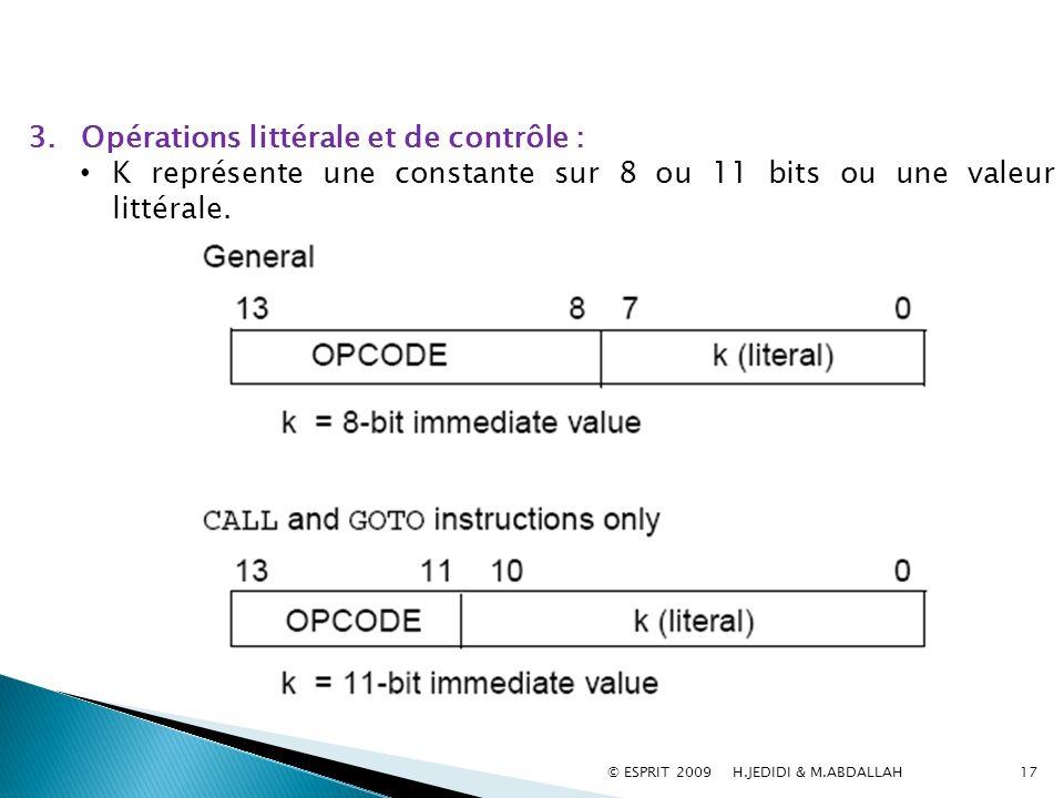 Opérations littérale et de contrôle :