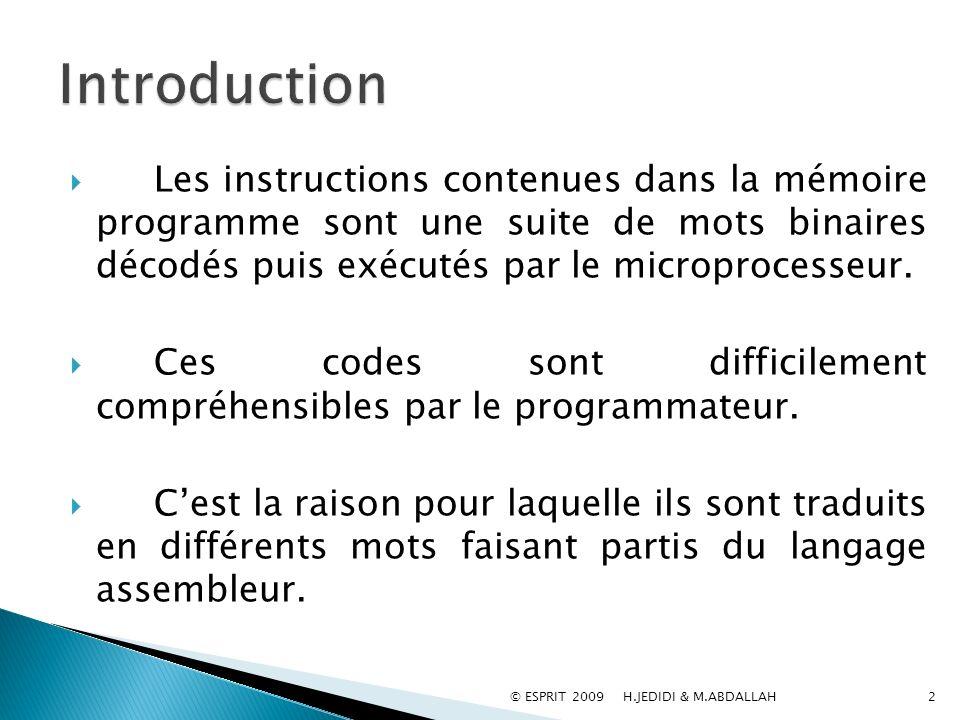 Introduction Les instructions contenues dans la mémoire programme sont une suite de mots binaires décodés puis exécutés par le microprocesseur.