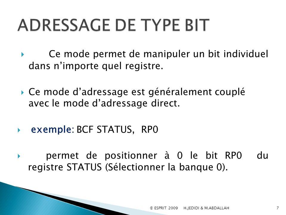 ADRESSAGE DE TYPE BIT Ce mode permet de manipuler un bit individuel dans n'importe quel registre.