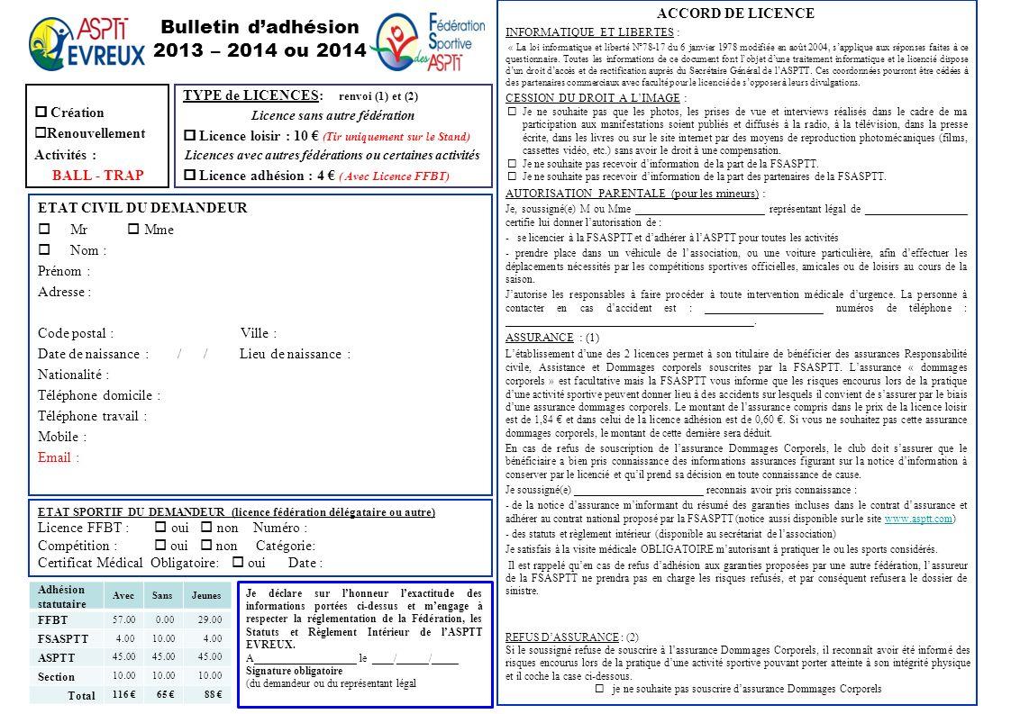 Bulletin d'adhésion 2013 – 2014 ou 2014