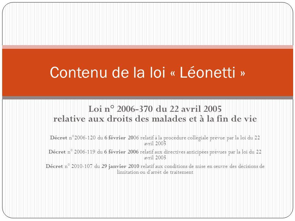 Contenu de la loi « Léonetti »