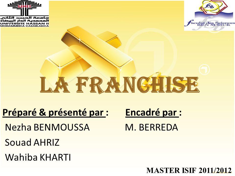 LA FRANCHISE Préparé & présenté par : Encadré par :