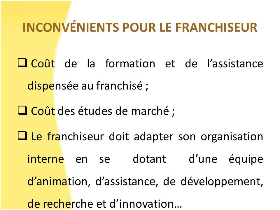 INCONVÉNIENTS POUR LE FRANCHISEUR