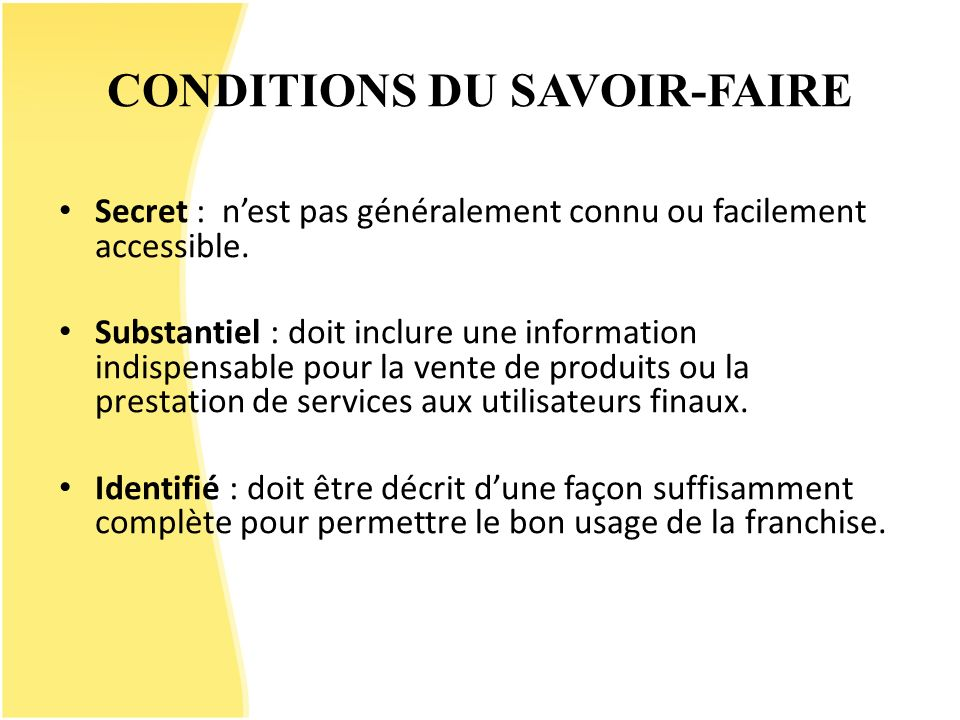 CONDITIONS DU SAVOIR-FAIRE