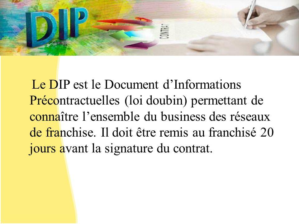 Le DIP est le Document d'Informations Précontractuelles (loi doubin) permettant de connaître l'ensemble du business des réseaux de franchise.