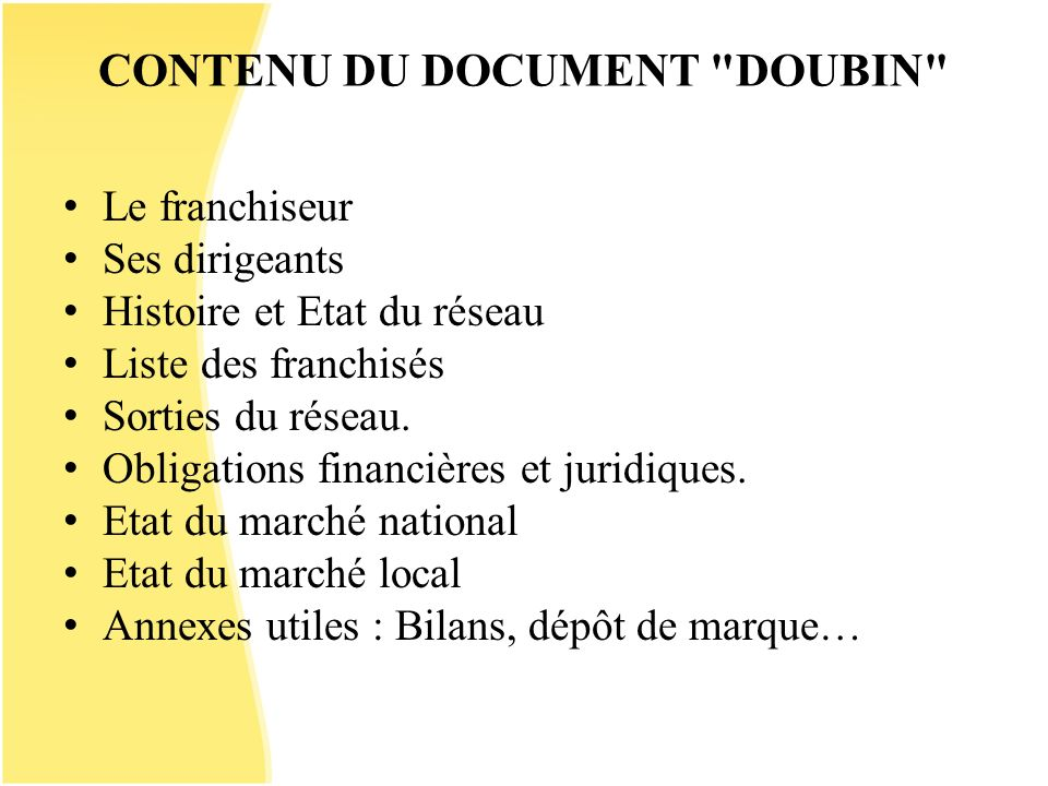 CONTENU DU DOCUMENT DOUBIN