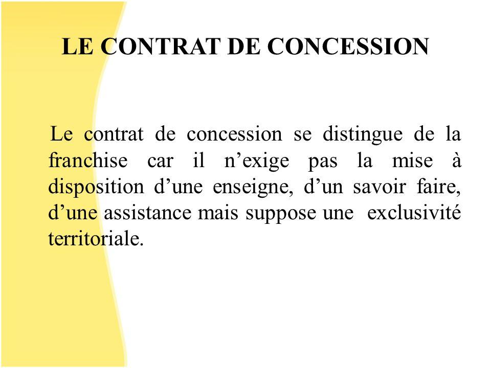 LE CONTRAT DE CONCESSION