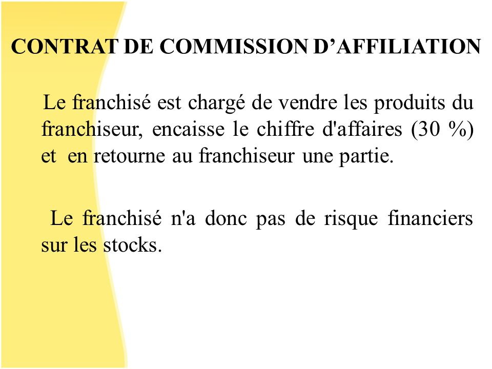 CONTRAT DE COMMISSION D'AFFILIATION