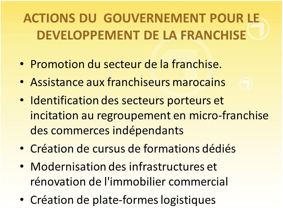 ACTIONS DU GOUVERNEMENT POUR LE DEVELOPPEMENT DE LA FRANCHISE