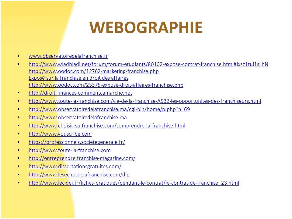 WEBOGRAPHIE www.observatoiredelafranchise.fr