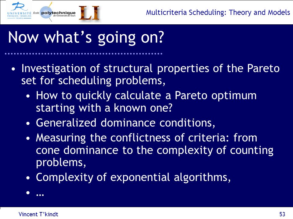 Now what's going on Investigation of structural properties of the Pareto set for scheduling problems,