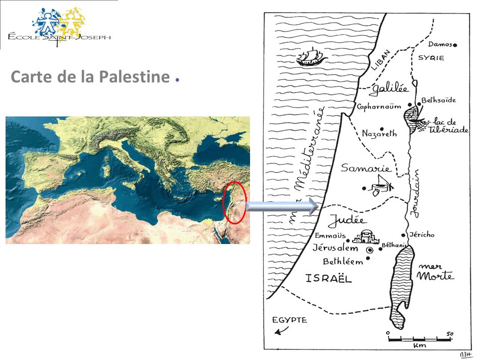 Carte de la Palestine ●
