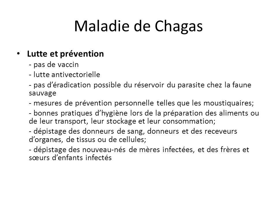Maladie de Chagas Lutte et prévention - pas de vaccin