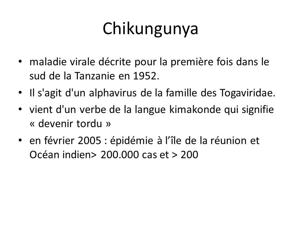 Chikungunya maladie virale décrite pour la première fois dans le sud de la Tanzanie en 1952.