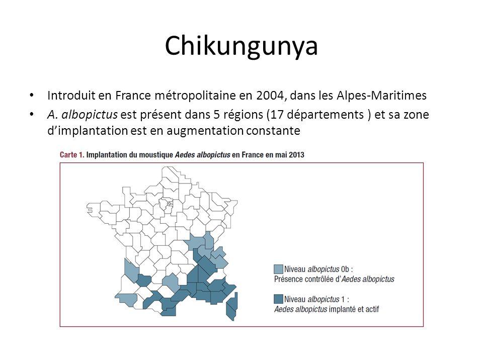 Chikungunya Introduit en France métropolitaine en 2004, dans les Alpes-Maritimes.
