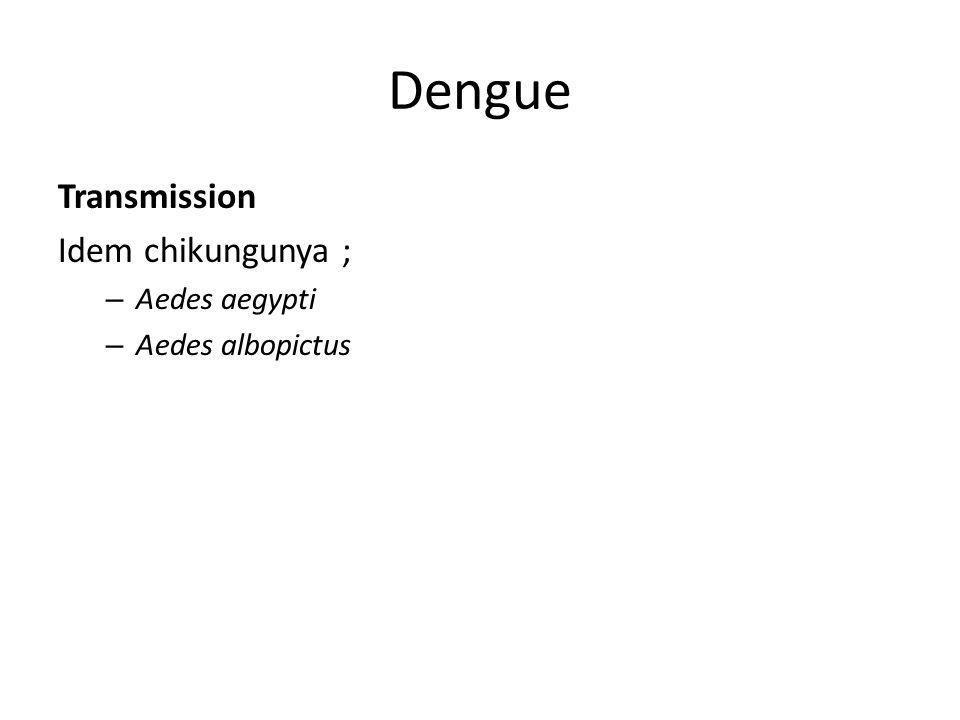 Dengue Transmission Idem chikungunya ; Aedes aegypti Aedes albopictus