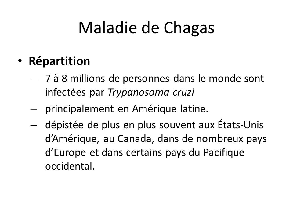 Maladie de Chagas Répartition