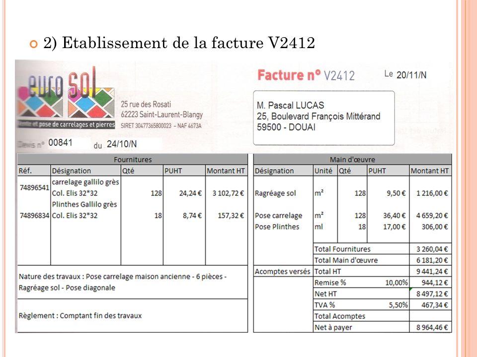2) Etablissement de la facture V2412