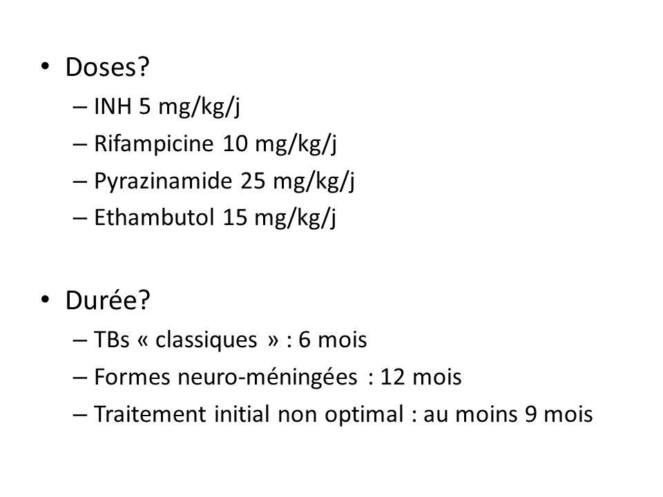 Doses Durée INH 5 mg/kg/j Rifampicine 10 mg/kg/j