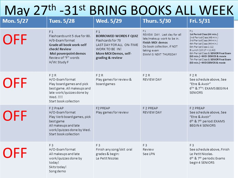 May 27th -31st BRING BOOKS ALL WEEK