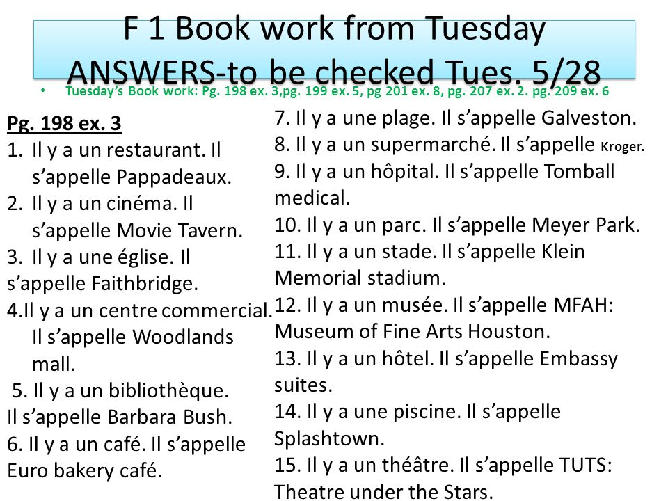 F 1 Book work from Tuesday ANSWERS-to be checked Tues. 5/28