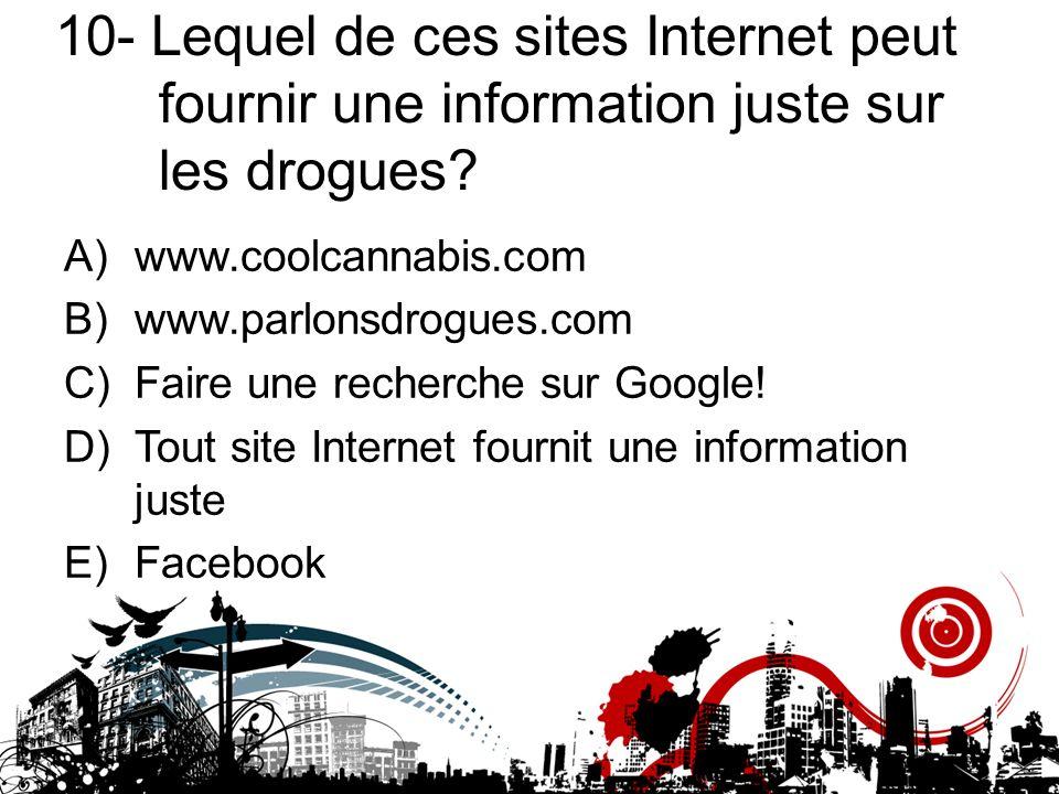 10- Lequel de ces sites Internet peut fournir une information juste sur les drogues