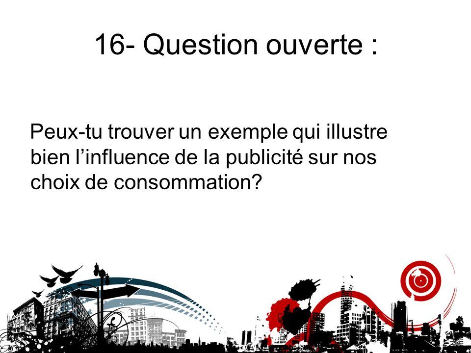 16- Question ouverte : Peux-tu trouver un exemple qui illustre bien l'influence de la publicité sur nos choix de consommation