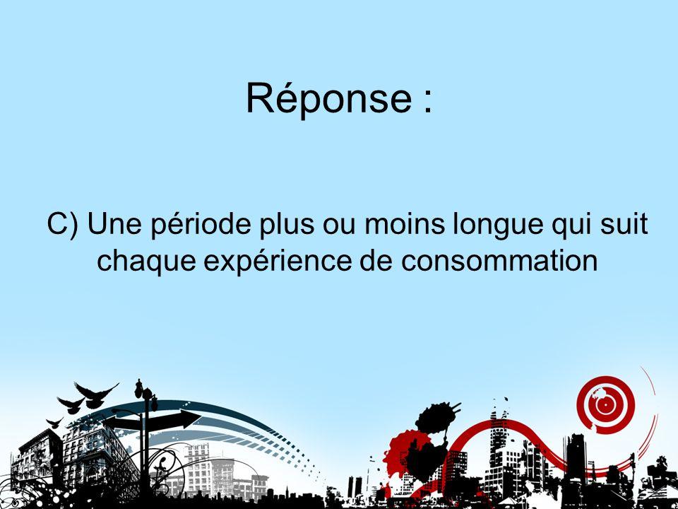 Réponse : C) Une période plus ou moins longue qui suit chaque expérience de consommation. Réponse 19.