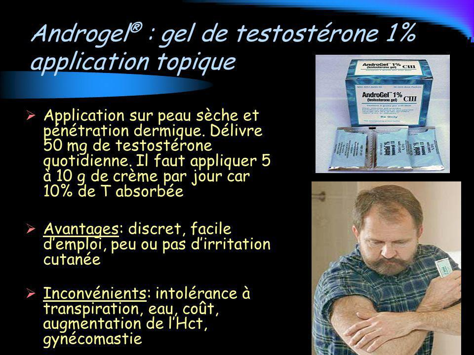 Androgel® : gel de testostérone 1% application topique