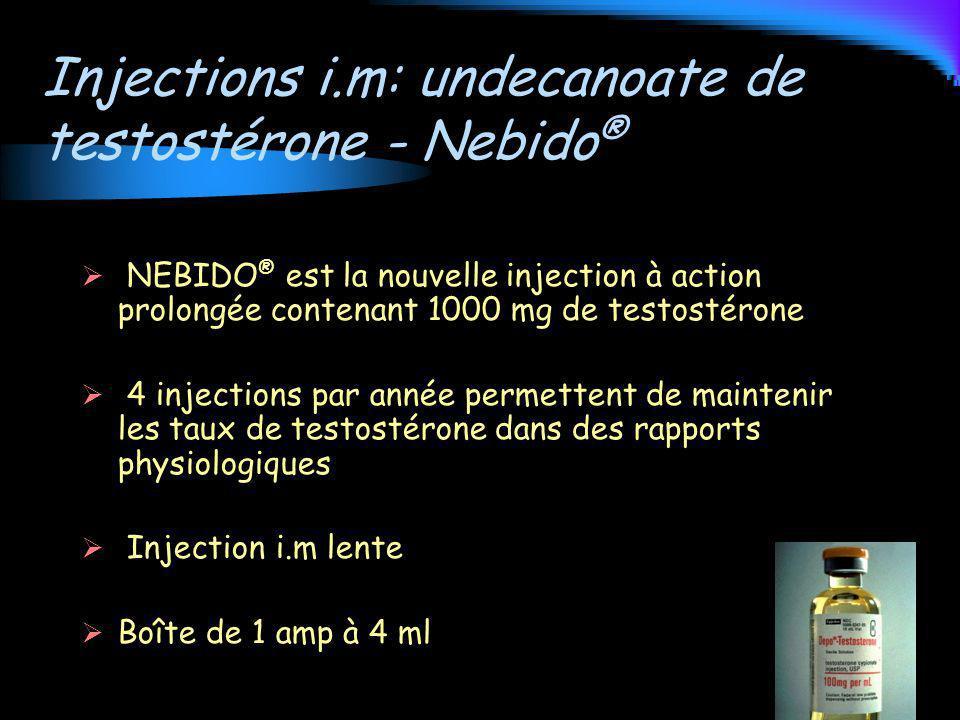 Injections i.m: undecanoate de testostérone - Nebido®