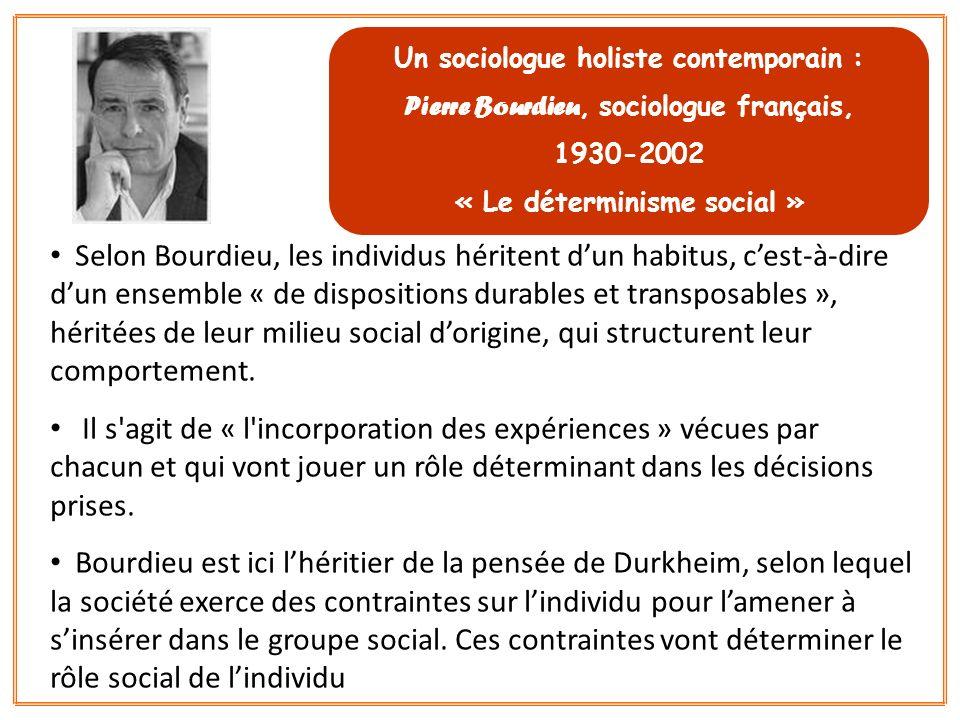 Un sociologue holiste contemporain :