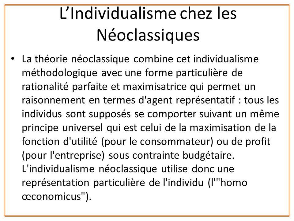 L'Individualisme chez les Néoclassiques