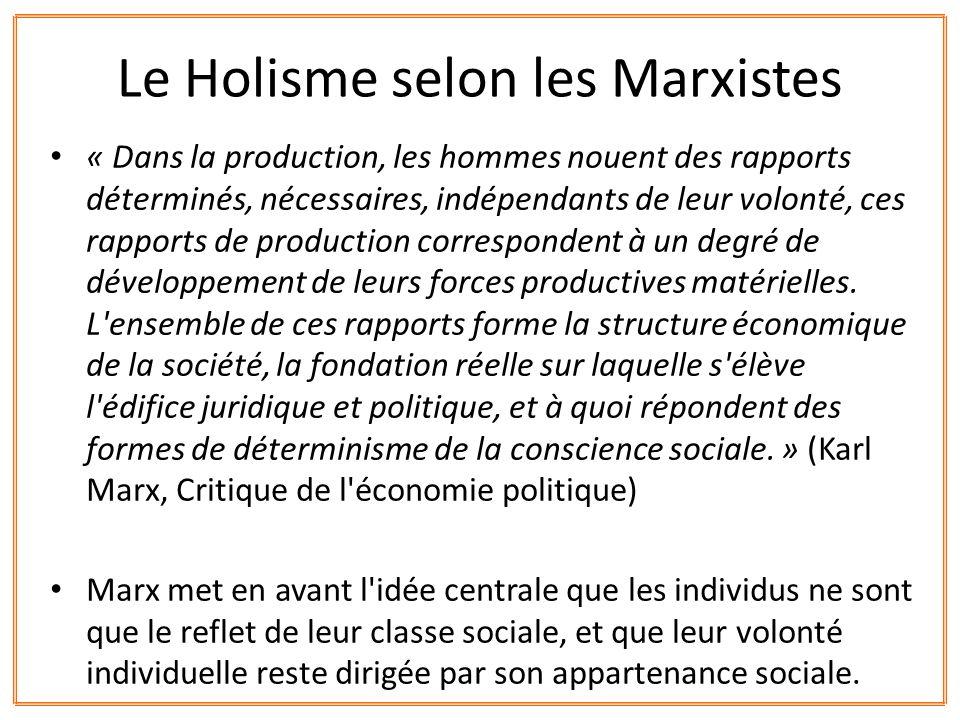 Le Holisme selon les Marxistes
