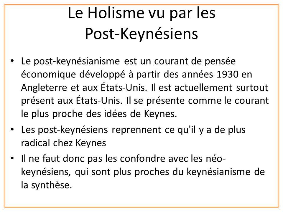 Le Holisme vu par les Post-Keynésiens