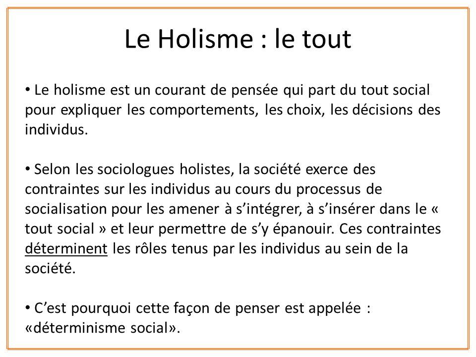 Le Holisme : le tout