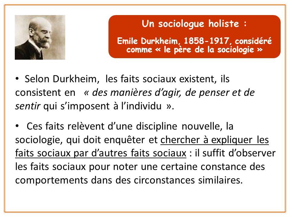 Un sociologue holiste :