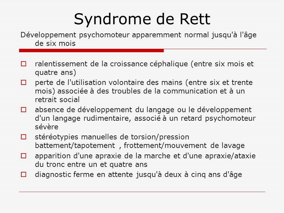 Syndrome de Rett Développement psychomoteur apparemment normal jusqu à l âge de six mois.