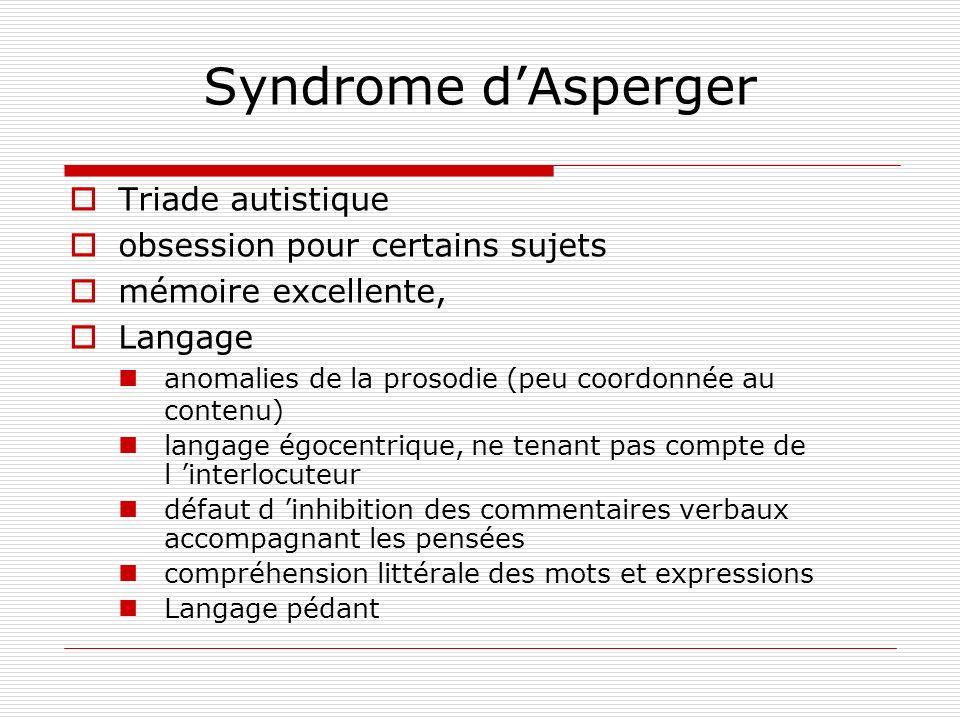 Syndrome d'Asperger Triade autistique obsession pour certains sujets